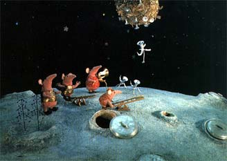 The Clangers on the Moon, with other stuff going on. They're alarming massive