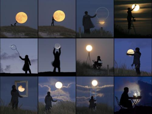 A series of photographs of people doing cool stuff with the Moon, to make it look like the Moon is within reach.